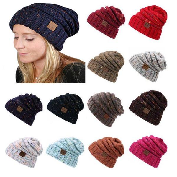 Compre es Cc Sombreros De Punto Cc Trendy Beanie Mujeres Chunky ...