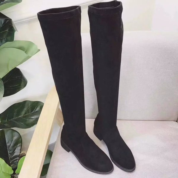 fashionville* u762 black genuine leather matte flat over the knees thigh high sexy boots