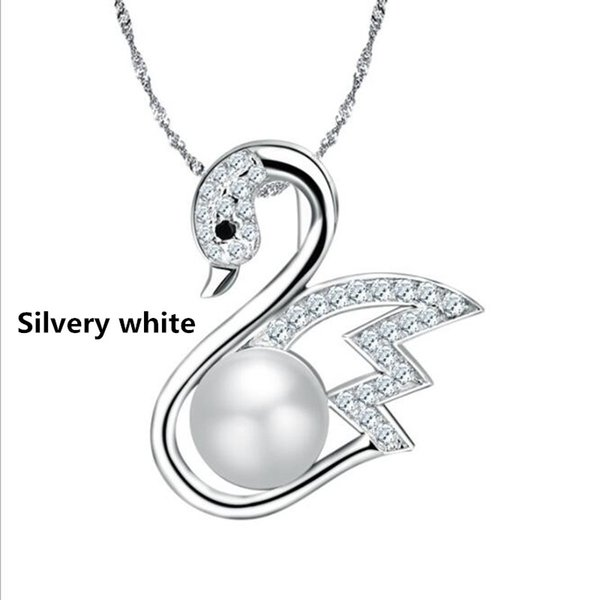 New S925 silver necklace fashion natural pearl pendant diamond swan necklace pendant jewelry fashion jewelry Designer Pendant Necklaces free