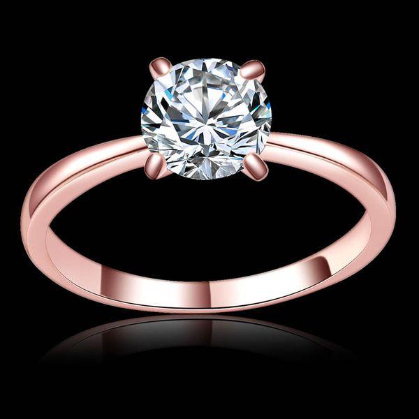 Высокое качество 1.2 ct Оптовая античный Циркон кольцо розовое золото цвет 5 мм с 4 лапы Стад кольцо любовника кольцо для женщин Оптовая 1738
