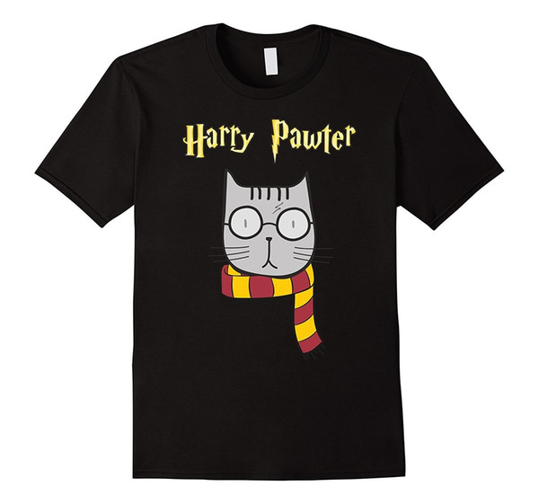 Harry Pawter Funny T-Shirt Cute Magic Kitten with Glasses Gift Men Brand Printed 100% Cotton T Shirt 2017 Newest Fashion