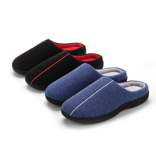 High Quality Velvet With Soft Fleece Outside Comfortable Soft Sole Women Memory Foam Home Slipper Men Shoes