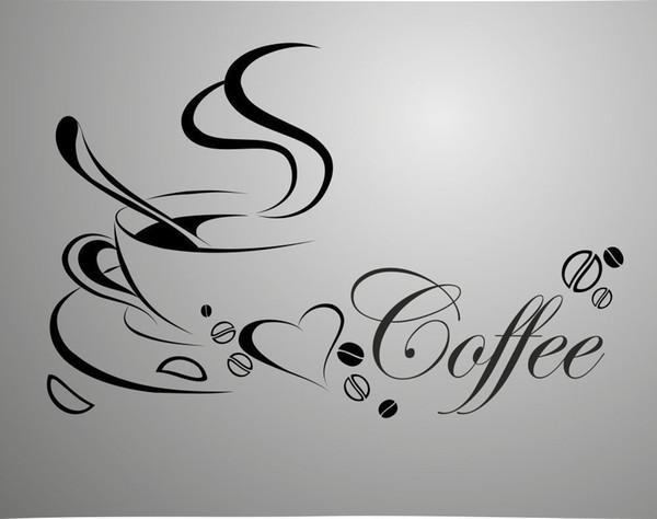 Tazza da caffè di nuova concezione per adesivi per la casa / cucina impermeabile e rimovibile decalcomanie per la decorazione di pareti in vinile. Adesivi in vinile / decalcomanie