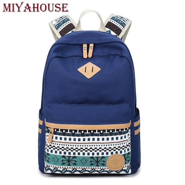 Wholesale- Miyahouse Ethnic Women Backpacks For Teenage Girls Vintage Stylish School Bag Lady Canvas Backpack Female Back Pack High Quality