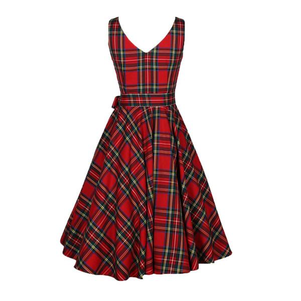 Womail 2018 Coon Red Dress Vintage senza maniche Donna Summer Dark Red Vintage Plaid Robe Femme Party Dress Drop Ship