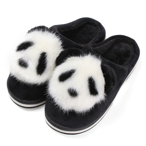 Winter Indoor Furry Panda Slipper Women Flat Home Plush Slide Christmas Slippers Animal Warm Non-Slip Home Shoes Scarpe Donna