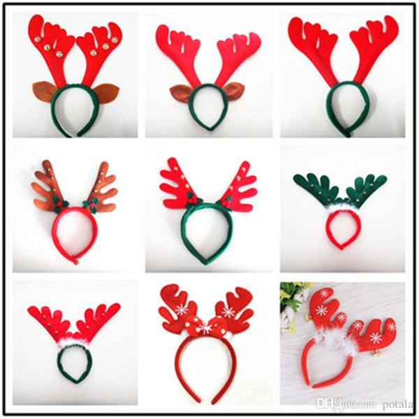100pcs/lot Christmas Decorations Antler Hair Bands Red Non Woven Headband Holiday Birthday Party Supplies snowman Santa Claus Hairband Years