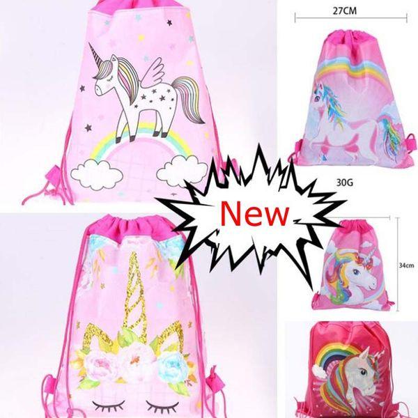 Best selling 24pcs cartoon unicorn non-woven Drawstring Backpacks School Shopping Bags Wedding Birthday Unicorn Gift Bag Party Favors