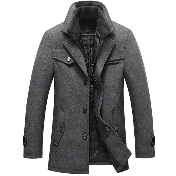 2018 neue Männer Winter Wollmantel Slim Fit Jacken Mens Casual Dicke Baumwolle Warme Oberbekleidung Jacke Mäntel Mann Pea Coat Plus Größe M-5XL