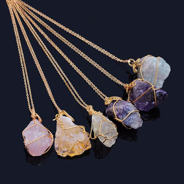 Trendy Handmade Irregular Amethyst Citrine Wire Wrapped Pendant Necklace Women Natural Stone Crystal Quartz Fluorite Necklaces Jewelry