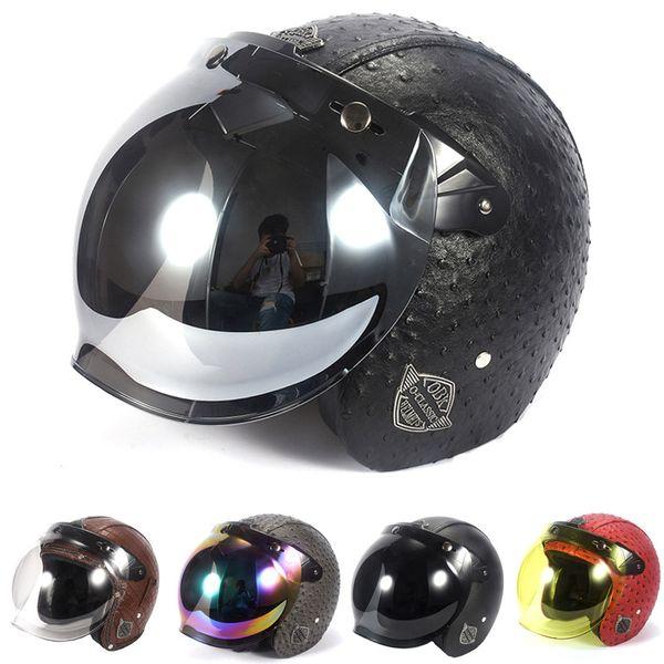 Vintage Leather Motorcycle Helmet Open Face Harley Helmets Motorcycle Chopper Bike Helmet With Flip Up Lens Bubble Visor Shield