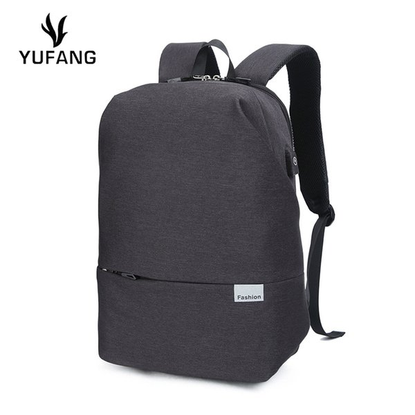 YUFANG Zipper Simple Men Backpack College Style School Bag Solid Color Casual Backpack Large Capacity Laptop Bag Business