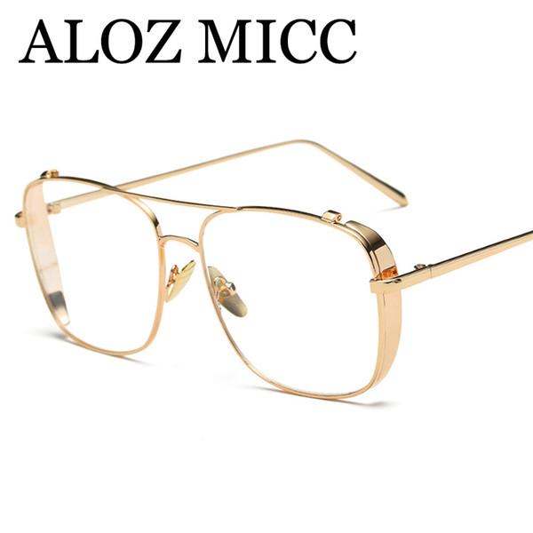 top popular ALOZ MICC Newest Men Glasses Frame Women Gold Clear Eyeglasses Brand Designer Metal Frame Ladies Eyewear Frame 2018 A463 2019