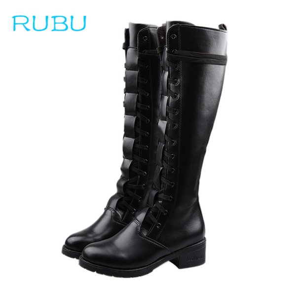 más nuevo mejor calificado profesional nuevos productos para Compre 2018 Nuevo Lace Up Rodilla Botas Altas Mujer Otoño De Cuero Suave  Moda Cuadrado Negro Tacón Mujer Zapatos Botas De Invierno Para Niñas A  $55.43 ...