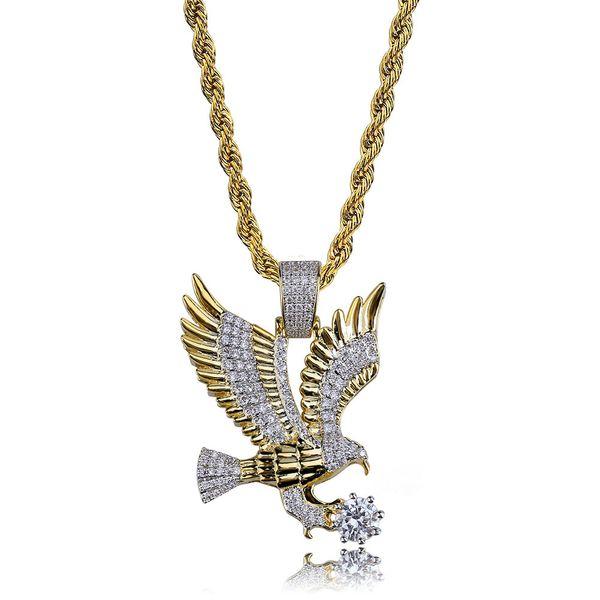 Nuevo Hip Hop chapado en color dorado de cobre helado micro pavimentado CZ águila colgante, collar, hombres, joyería del encanto