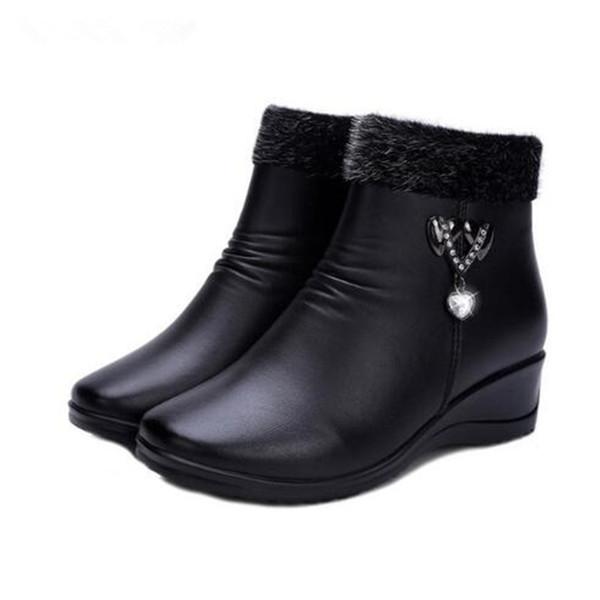 Venta caliente 2018 Nuevo Invierno Botas de Nieve Mujer Elegante Rhinestone Botas de Tobillo Comodidad Zapatos de Cuñas Calientes Botas antideslizantes Moda Zapatos mujer