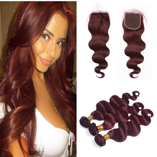 Fashion Lady Pre-Colored Ombre Brazilian Hair 3 Bundles With Lace Closure 99J Body Wave Weave Human Hair Bundles Virgin Malaysian Hair