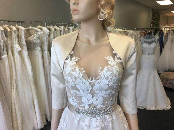 Champagne 3/4 sleeve satin bolero wedding jacket shrug 2018 Free shipping Bridal Wraps