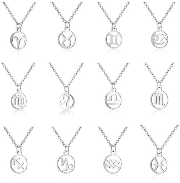 12 Zodiac Signs Pendant Necklaces Stainless Steel Constellation Necklaces Women Fashion Choker New Hot Sale Free Shipping