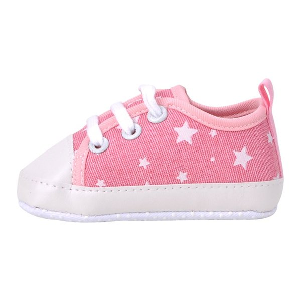 2018 Cute Newborn Baby Toddler Soft Sole Kids Shoes Canvas First Walker Lace Up Sneaker 0-18M