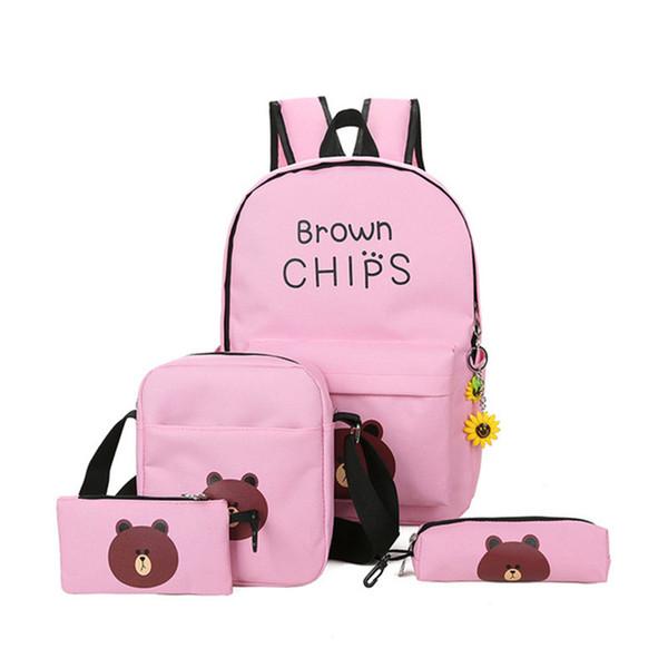 4pcs/set schoolbags Fashion bear printing school backpack Women travel shopping backpacks canvas student school bag for girls