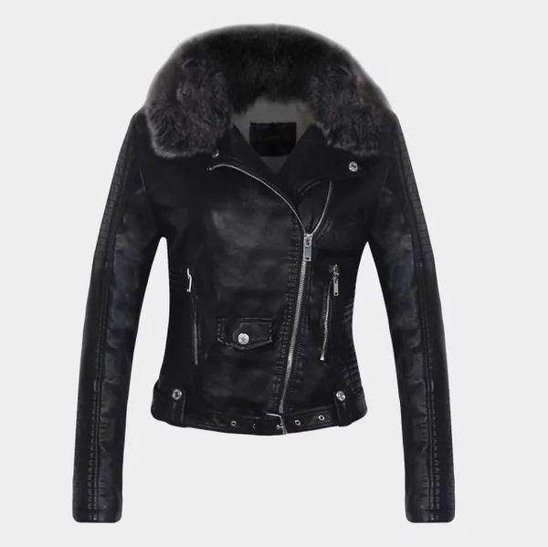 Kış Yeni kadın Moda Sıcak Imitasyon Deri Ceket Kürk Yaka Bayanlar Beyaz Siyah Pembe Motosiklet Sürme Ceket Ceket