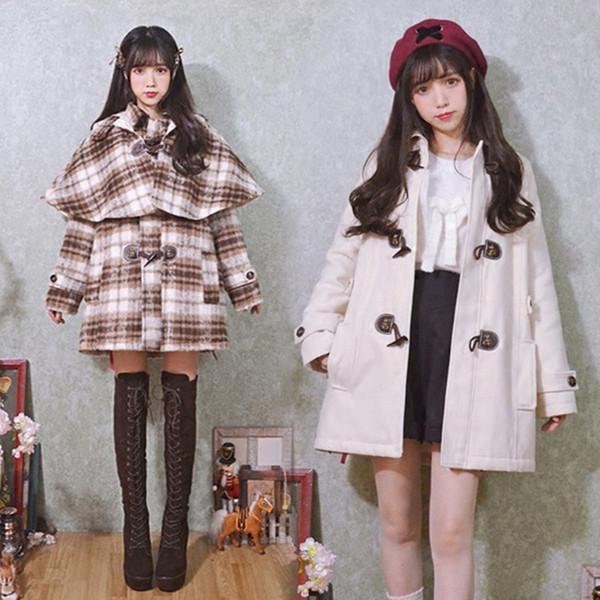 Winter New Sweet Lolita Woolen Wool Princess Royal Brown Plaid Long Cloak Cotton pad Women Horn Button Cape Preppy style Blends