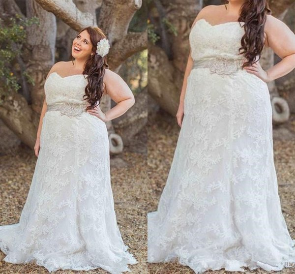 Hot Selling Plus Size Wedding Dresses Sweetheart Beaded Belt Lace Sweep Train Long garden outdoor informal Bridal Gowns Lace up Back