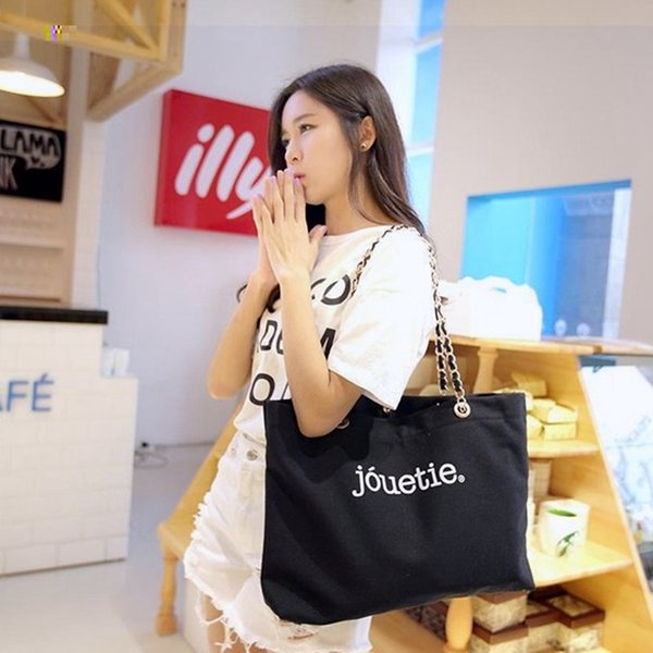 2018 Best saleing ~ Shopping Canvas Bag with chain luxury Travel Bag Women Cosmetic Storage case fashion canvas beach bag