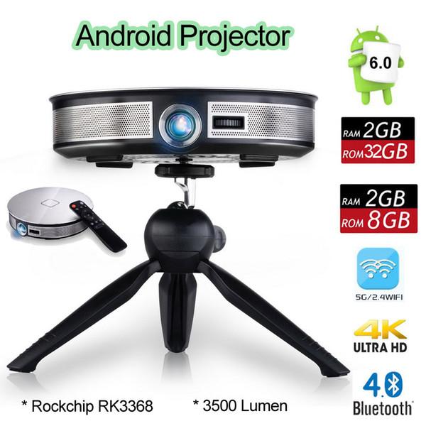 D8S Android 6.0 Mini DLP Projektor Rockchip RK3368 Octa Core 2 GB 32 GB Beamer Unterstützt 2.4G / 5G Wifi Bluetooth Portable 4K Home Media Player