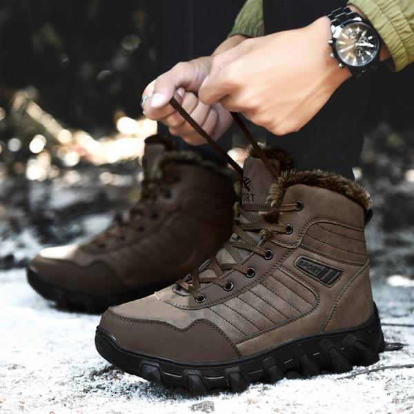 0c6b40a4a5b7f Botas de caza para hombres Zapatos impermeables para mochileros Botas de nieve  para hombre Botas de invierno antideslizantes Senderismo Hombres Cuello ...