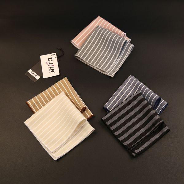 10pcs /Lot 19color New Korean Fashion Designer High Quality Mens Pocket Square Handkerchief Cotton Striped 22x22cm For Wedding