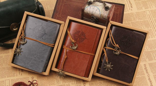 top popular Wholesale-5PC Vintage Nautical Applied Faux Leather Cover Journal Diary Blank String Notebook Free Shipping 2020