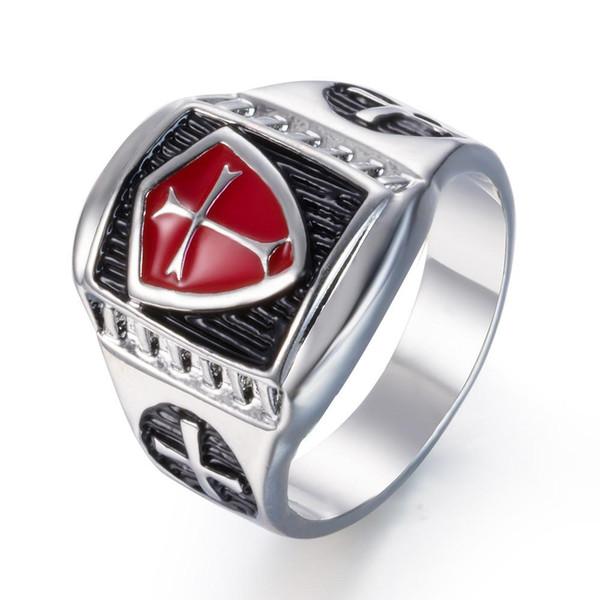 Toda SaleZMZY Armadura Roja Caballero Templario Cruzado Escudo Cruzado Anillo de Los Hombres Retro Vintage Sello Medieval Anillos de Dedo Joyería Regalos