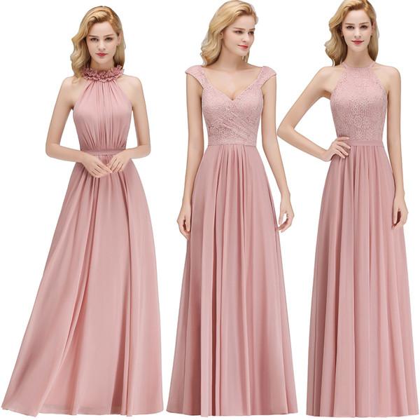 2019 barato gasa de encaje vestidos de dama de honor polvorientos Rose Halter Neck vaina Beach Prom vestidos para el vestido de noche de invitados de boda BM0057