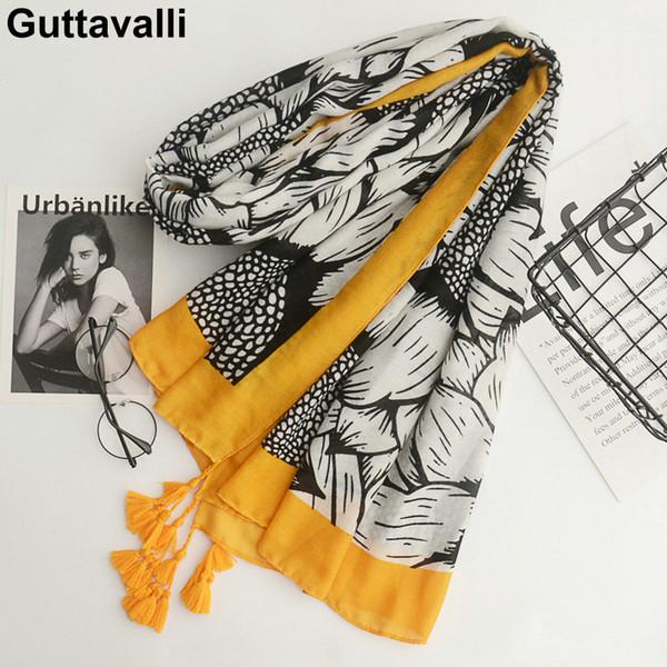 Guttavalli Women Sunflowers Cotton Tassels Long Shawl Female Skinny Floral Wrap Chevron Sunscreen Yellow Ends Dots Plant Scarves S18101904