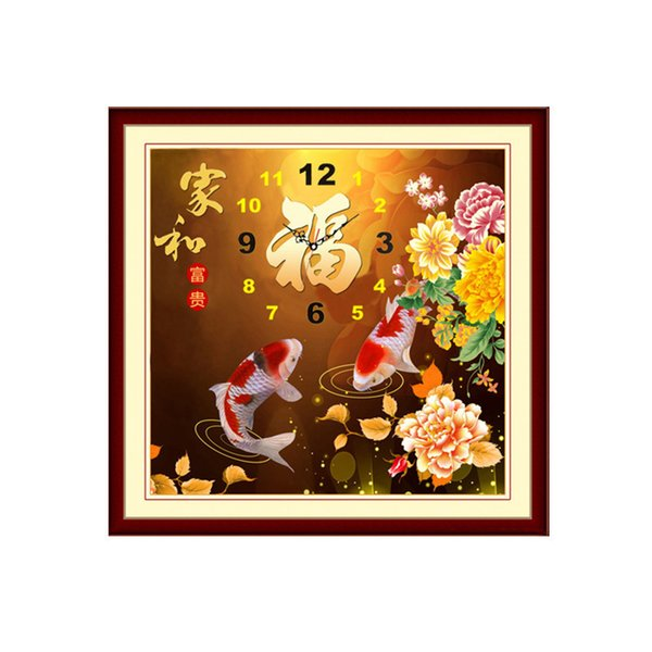 New Pattern 5D Diamonds Painted Diamonds Embroidered Home And Riches And Honour Lucky Character Full Stick Drill Cross Embroidery Wall Clock