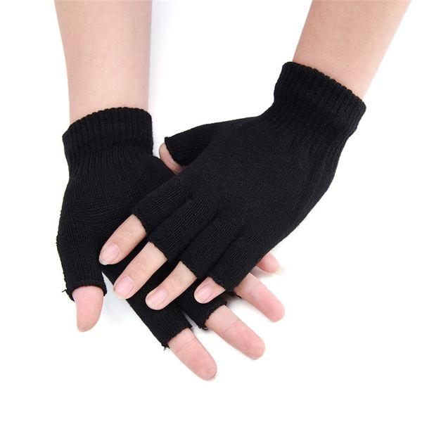 Cheap Sale Black Short Half Finger Fingerless Wool Knit Wrist Glove Winter Warm Gloves Workout For Women And Men Matching In Colour Men's Gloves