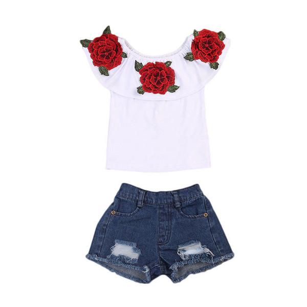 Yeni Moda Çocuk Kız Kapalı omuz Çiçek T-shirt Tops + Delik Denim Kısa Jean 2 ADET Gül Çiçek Suit Giyim Seti 1-6Y