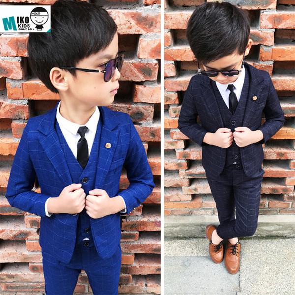 2018 nuevos muchachos de la manera de la llegada 3PCS Jacket + pants + vest blazers boy traje para bodas prom formal wedding boy trajes