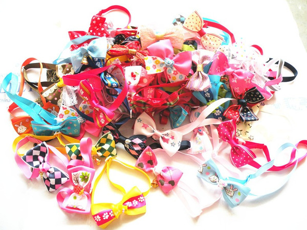 50PC/Lot Handmade Dog Ties Pet Dog Neckties Ribbon Dog Bow Ties Pet Grooming Supplies Mix Styles