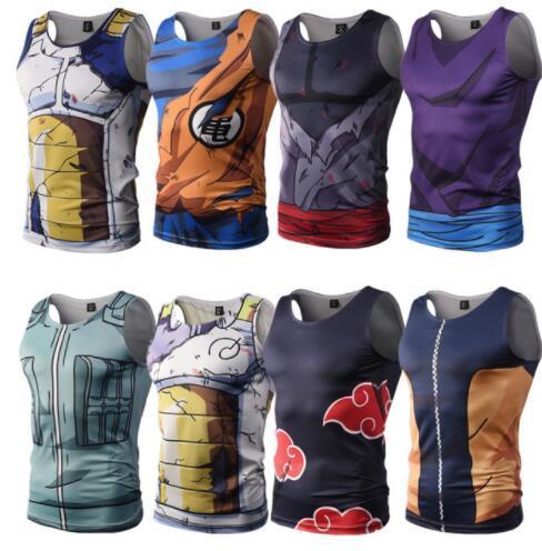 21 tasarım Erkekler T Gömlek 3D Anime Dragon Ball Z Giyim Goku Yelek Tankı Vücut Geliştirme Yelek Fitness KKA5769 Tops