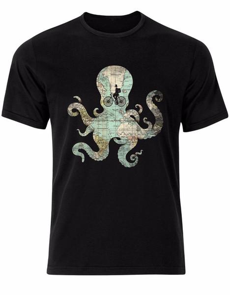 Vintage Map Octopus Bicycle Retro Gentleman Hat Texture Mens Tshirt Top AL85 Mens 2018 fashion Brand T Shirt O-Neck 100%cotton