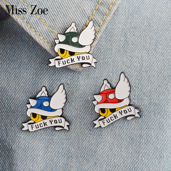 Miss Zoe Groen Rood Blauw Shell Mario Kart emaille pin F--YOU Revers Pin Comics video game pictogrammen Badge Knop Broche voor Kleding gift