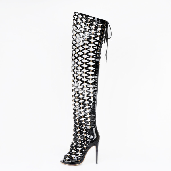 Black Gold Rivet Thigh High Women Boots Over The Knee Summer Style Boots Ladies High Heels Open Toe Lace Up Hollow Womens Boots
