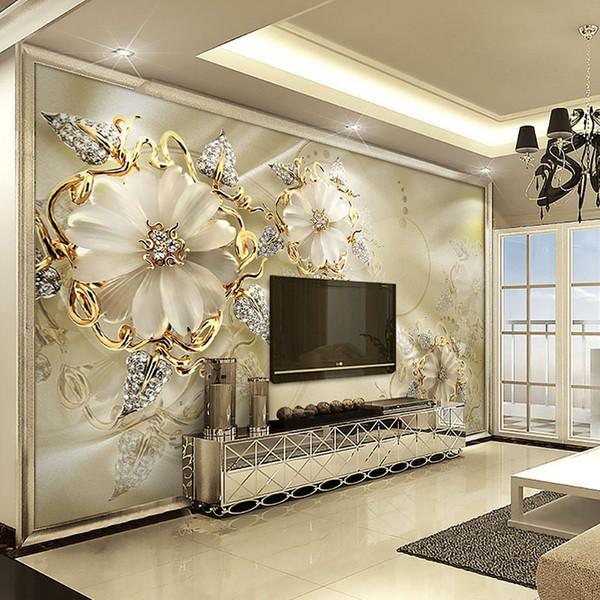 Personnalisé 3D Papier Peint Papier Peint Style Européen Diamant Bijoux Or Fleur Toile de Fond Décor Murale Art Moderne Peinture Murale Salon