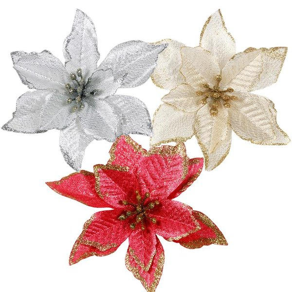 FunPa 24Pcs 5.91'' Glitter Artificial Flowers Christmas Tree Ornaments Flowers Xmas Tree Flower Decor Free Shipping
