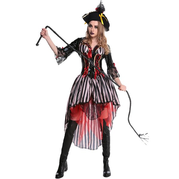 2017 Adult Pirate Costume for Halloween New Style Female Carnival Sexy Party Scarf Pirates Hat Coat Uniforms Outfit W5388945