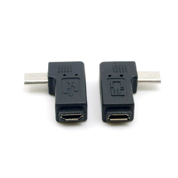 One pair 90 degree left and right angled micro usb male to female data & charging extension adapter