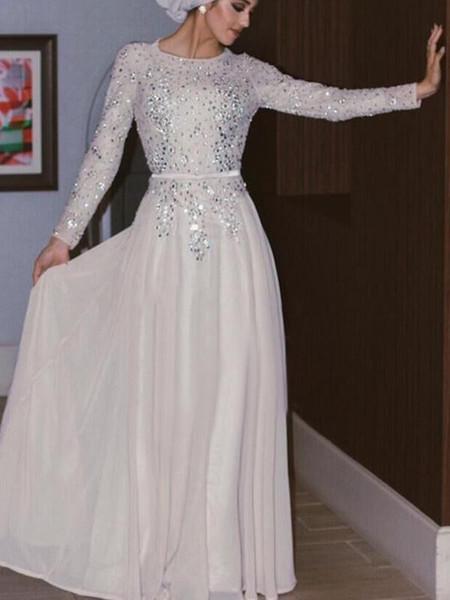 Großhandel Sparkly Long Sleeves Muslim Abendkleider Pailletten ...